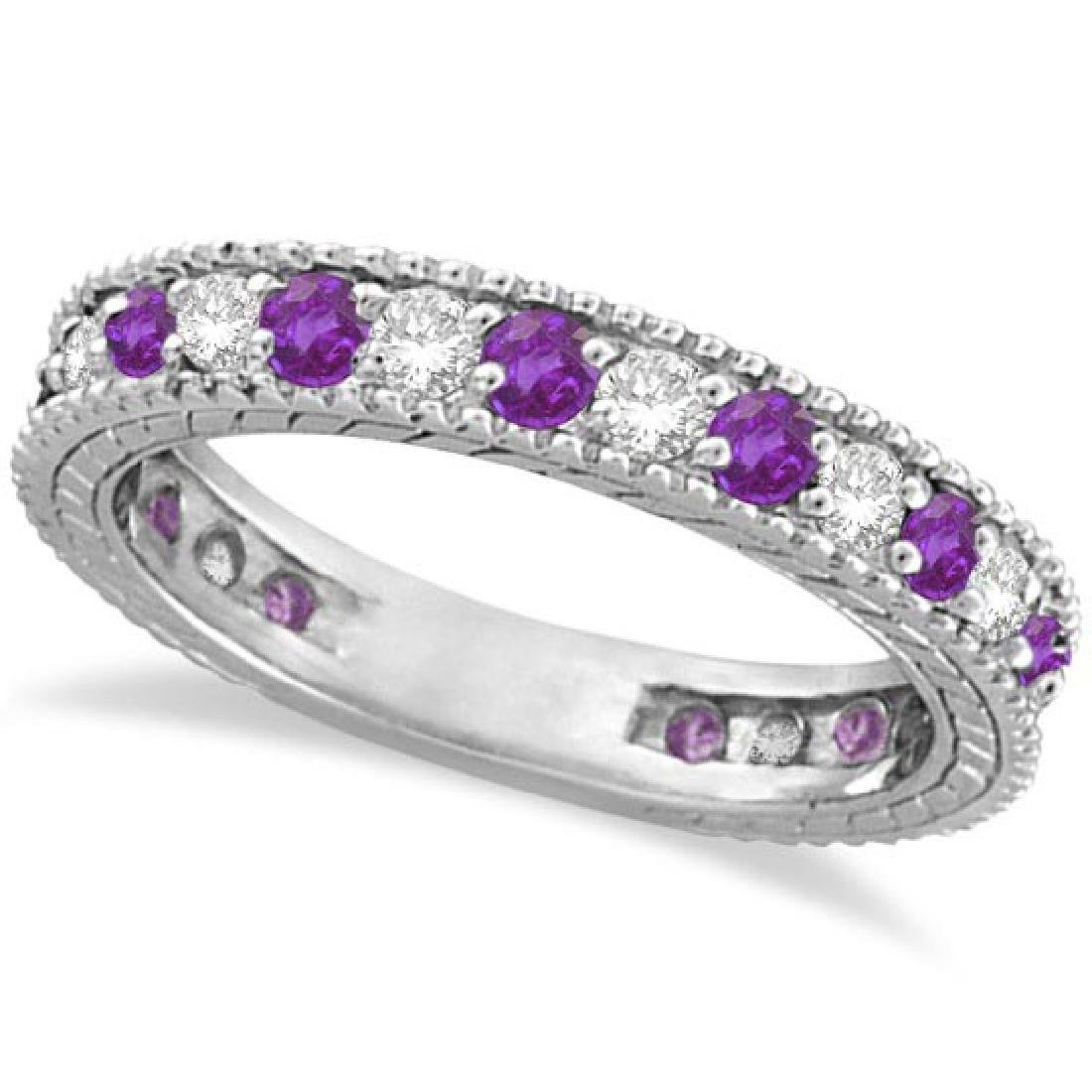 Diamond and Amethyst Eternity Ring Band 14k White Gold