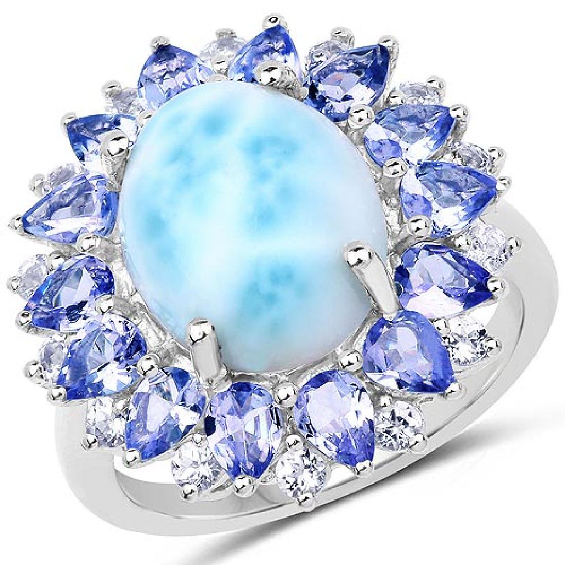 7.02 Carat Genuine Larimar Tanzanite and White Topaz .