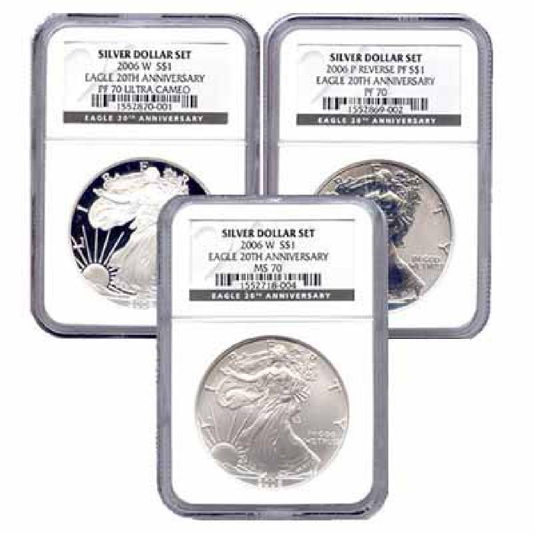Certified 2006 20th Anniversary 3pc Silver Set MS & PF7