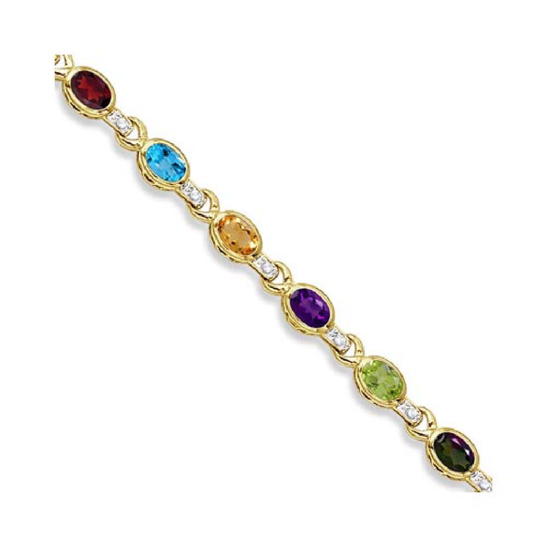 Diamond and Multicolor Gemstone Bracelet 14k Yellow Gol