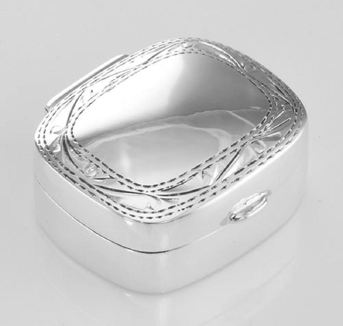 Small Sterling Silver Rectangle Pillbox w/ Engraved Bor