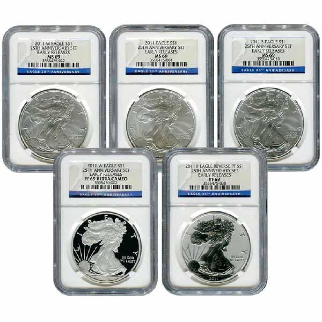 Certified 2011 American Eagle 25th Anniversary 5pc Silv