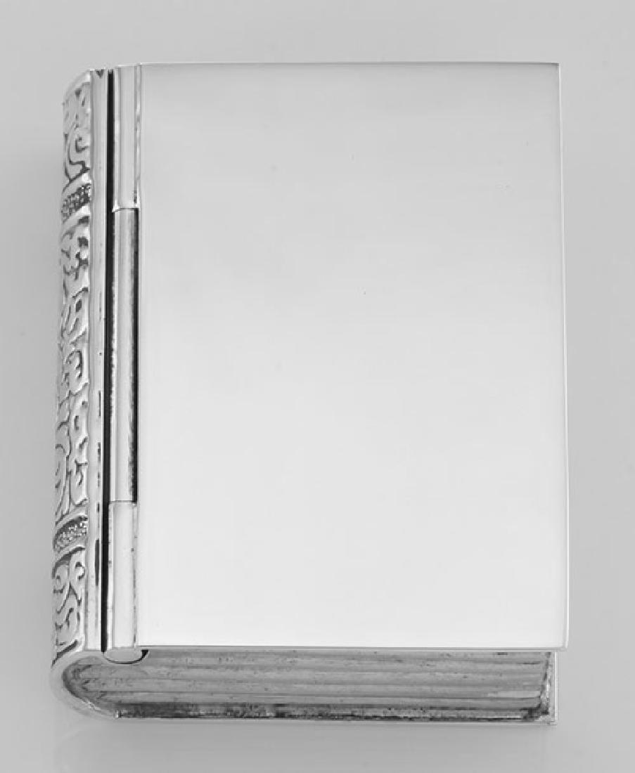 Sterling Silver Book Pillbox High Polish Engravable Des