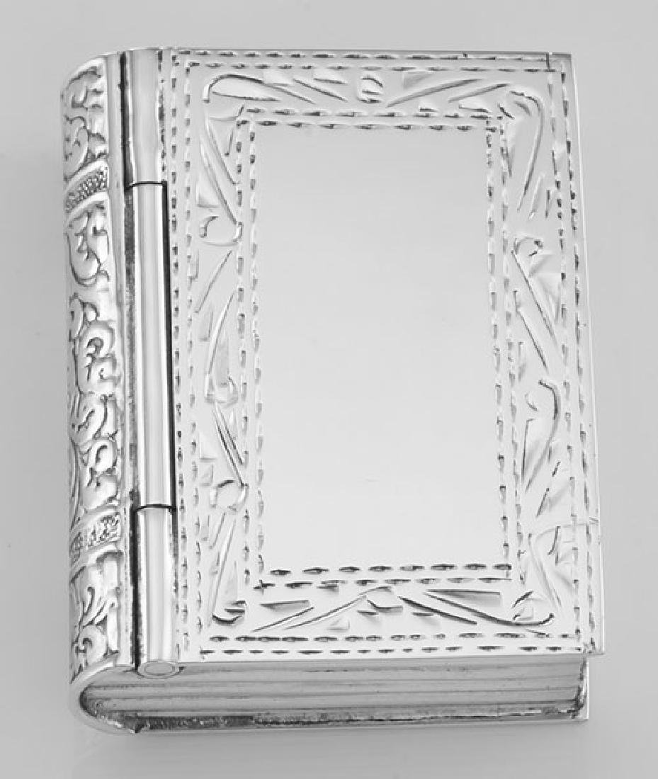 Antique Style Etched Border Design Sterling Silver Book