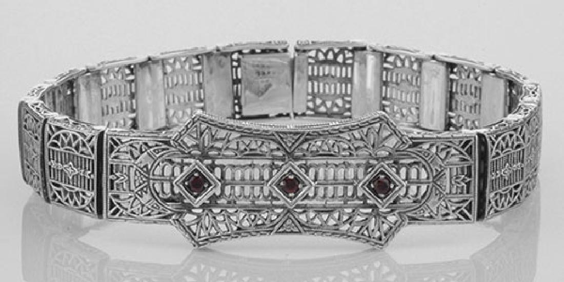 Art Deco Style Filigree Bracelet with 3 Red Garnets - S