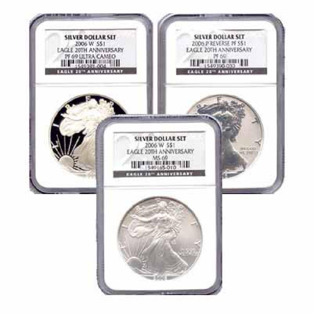 Certified 2006 20th Anniversary 3pc Silver Set MS & PF6