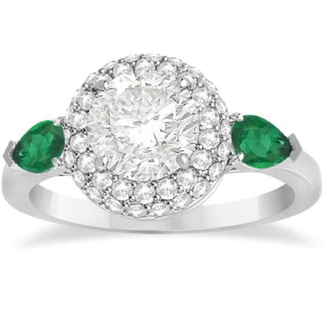 Pear Cut Emerald and Diamond Engagement Ring Platinum