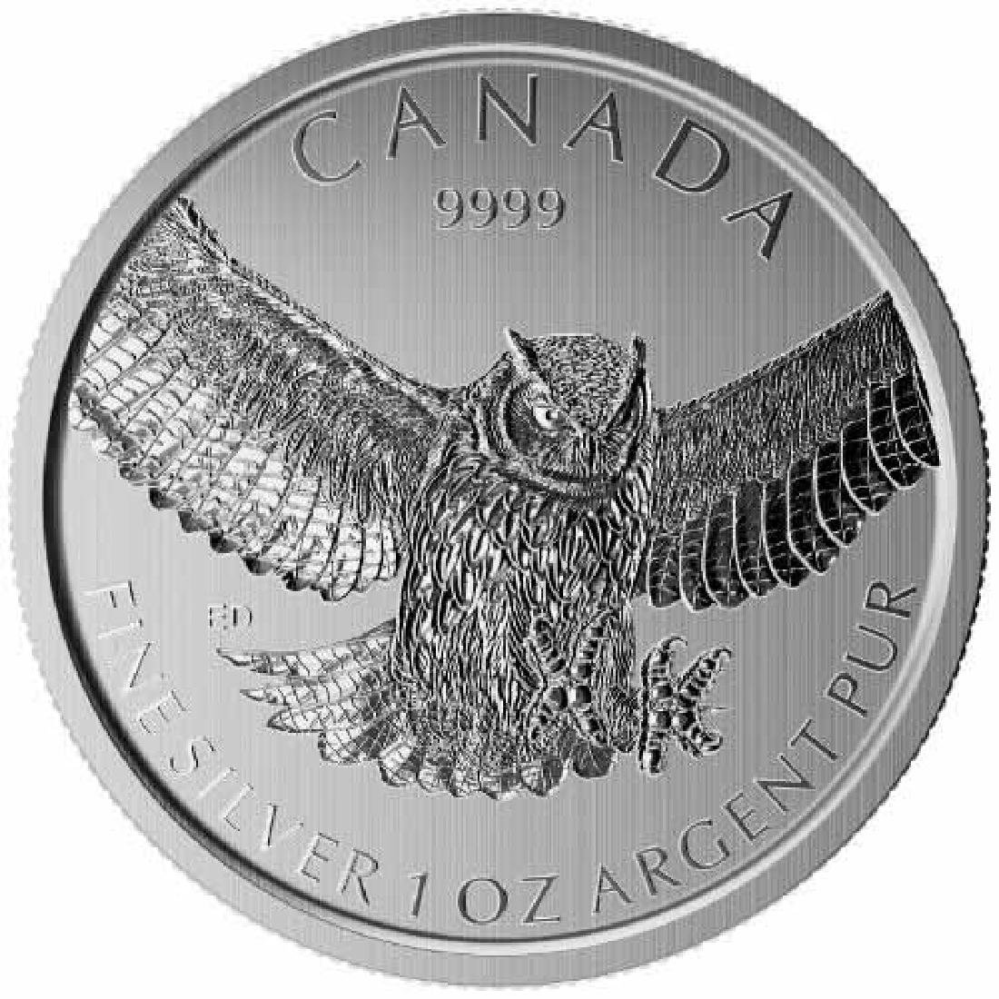 Canadian Silver 1 oz Great Horned Owl 2015 (Birds of Pr
