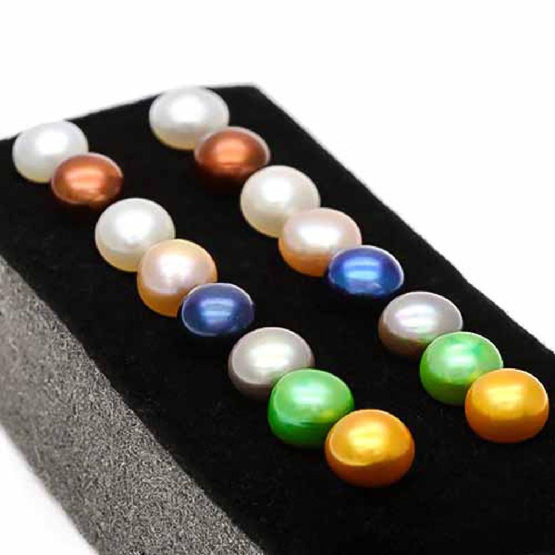 8 PAIRS MULTI COLOR MAN-MADE PEARL 925 STERLING SILVER