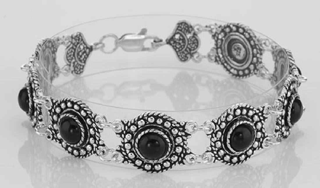 Antique Victorian Style Black Agate Filigree Bracelet -