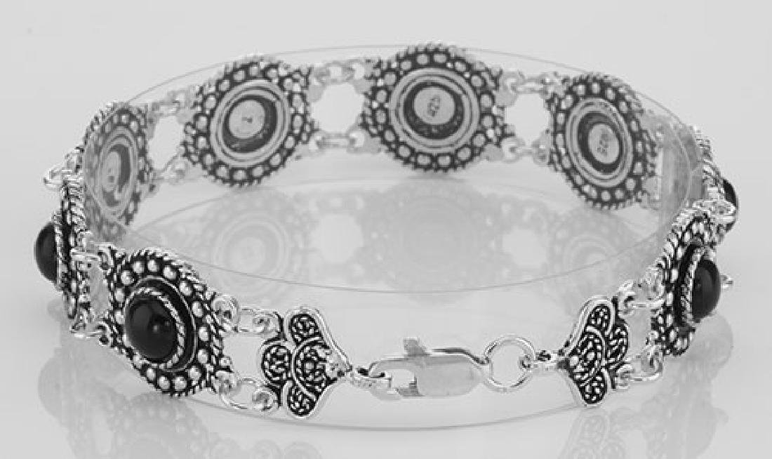 Antique Victorian Style Black Agate Filigree Bracelet - - 2