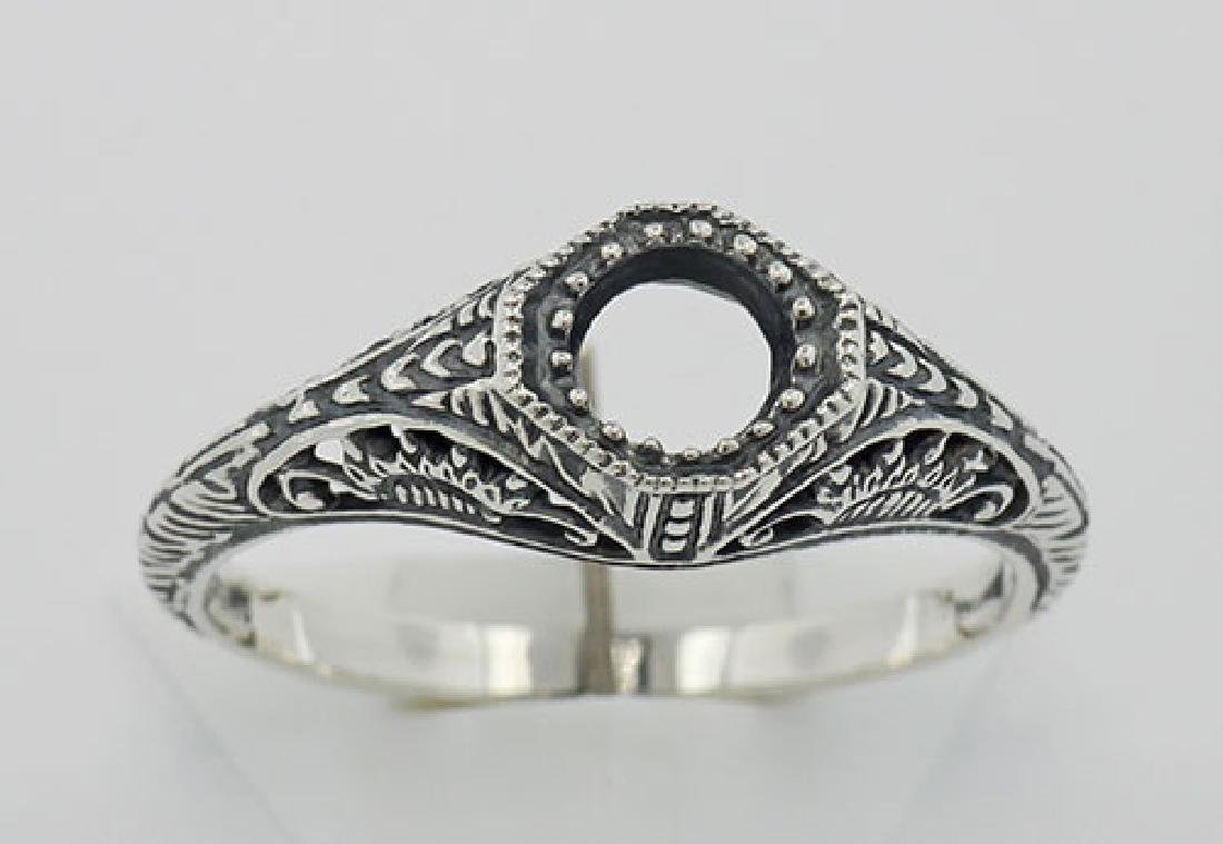 Semi Mount Art Deco Style Filigree Ring - Sterling Silv - 2