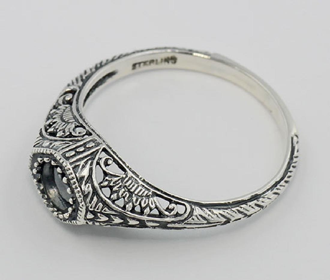 Semi Mount Art Deco Style Filigree Ring - Sterling Silv - 3