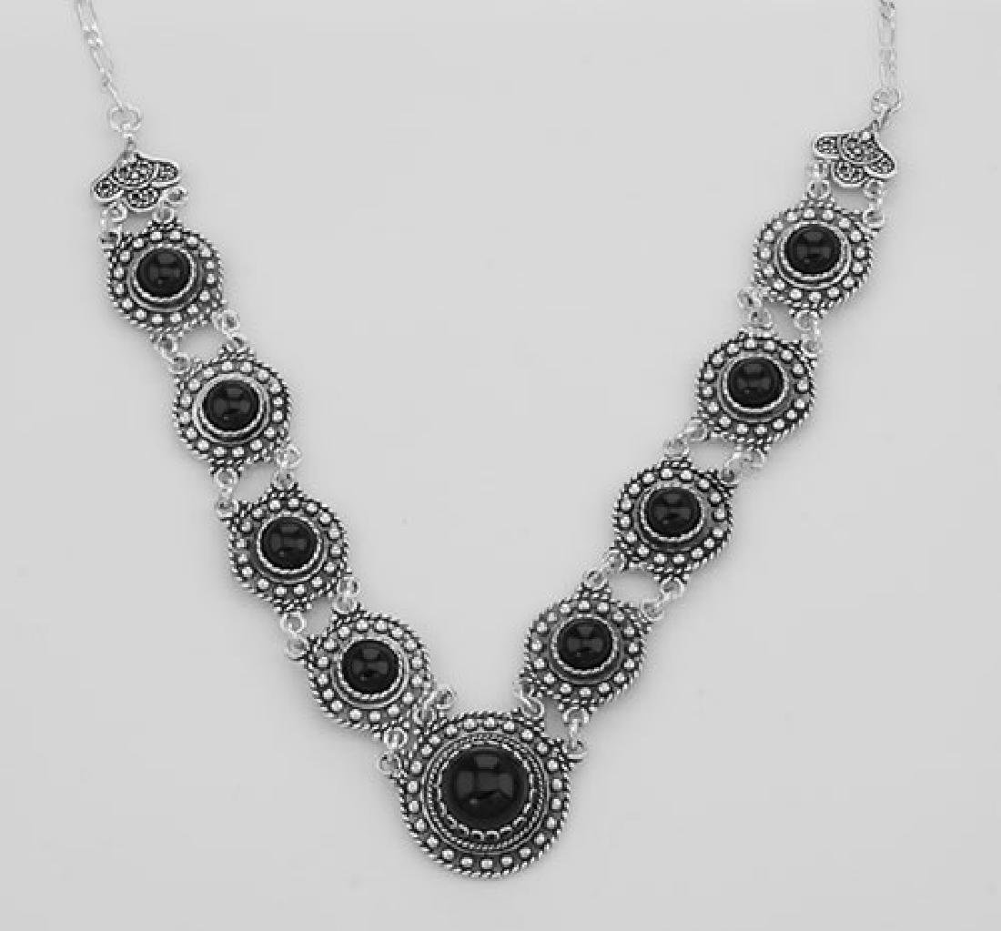Victorian Style Black Agate 18 Inch Necklace - Sterling