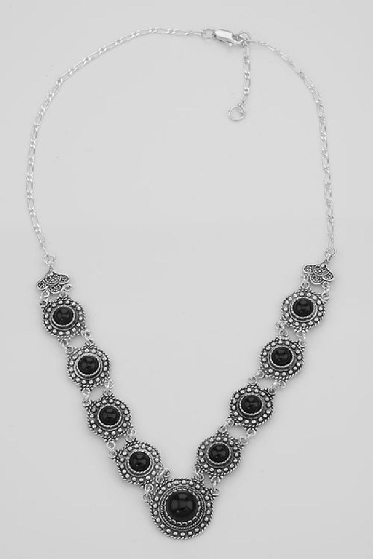 Victorian Style Black Agate 18 Inch Necklace - Sterling - 2