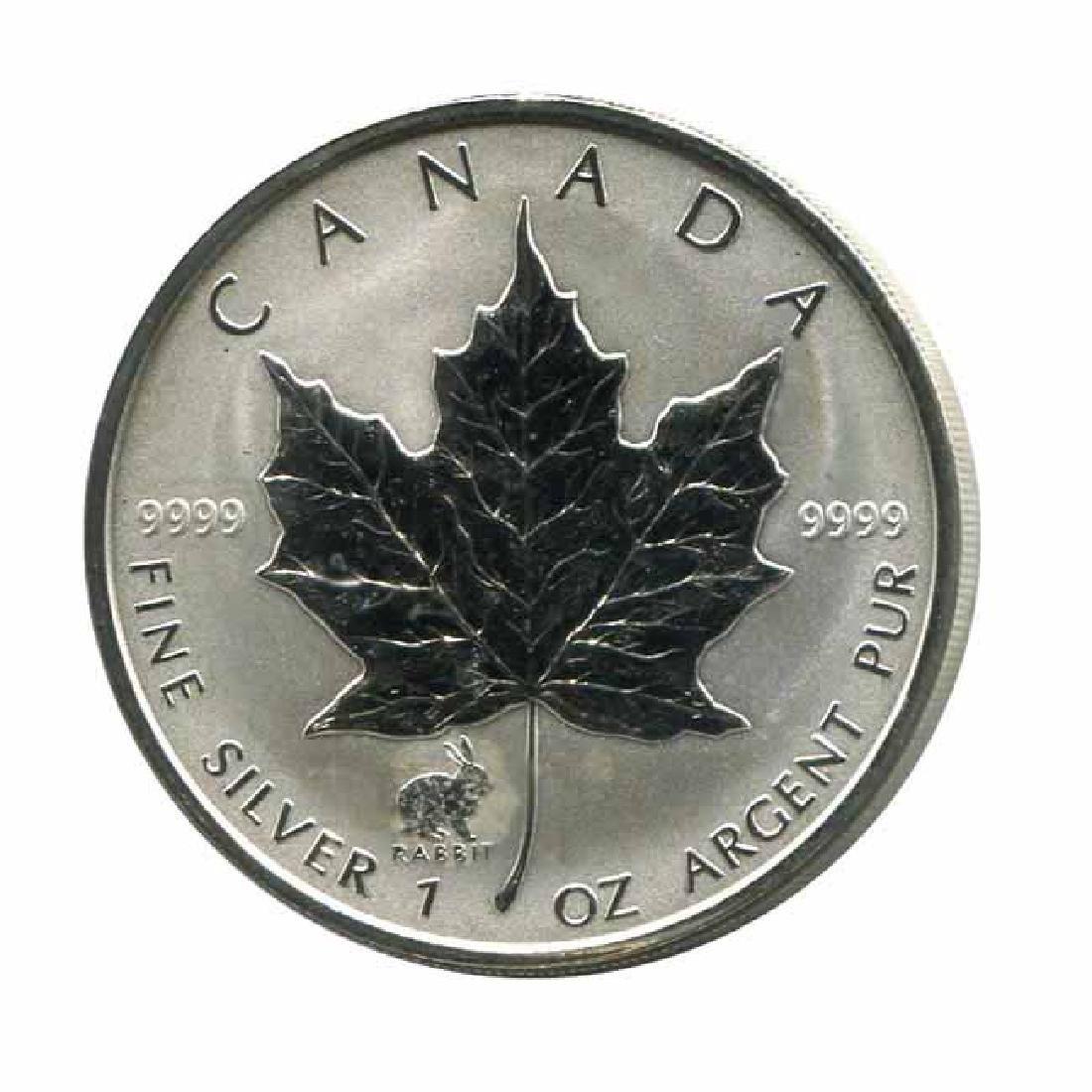 1999 Canada 1 oz. Silver Maple Leaf Reverse Proof Rabbi