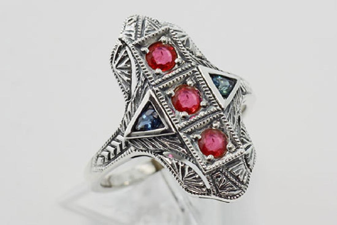 Art Deco Ring Rubies and Sapphires - Sterling Silver
