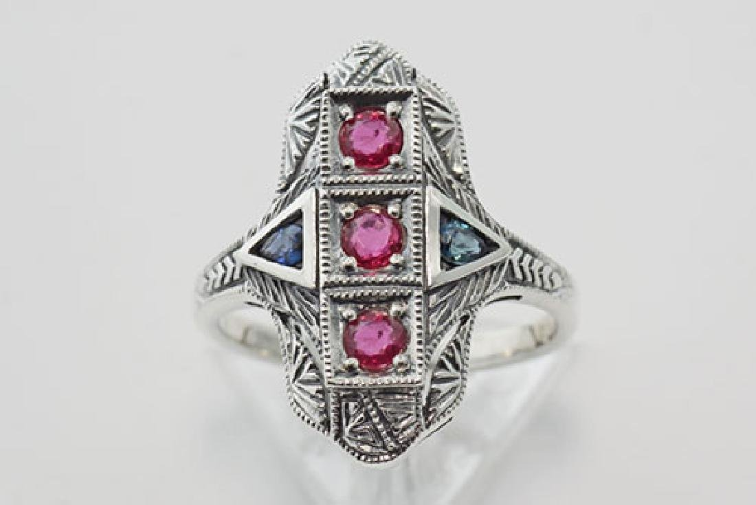 Art Deco Ring Rubies and Sapphires - Sterling Silver - 2