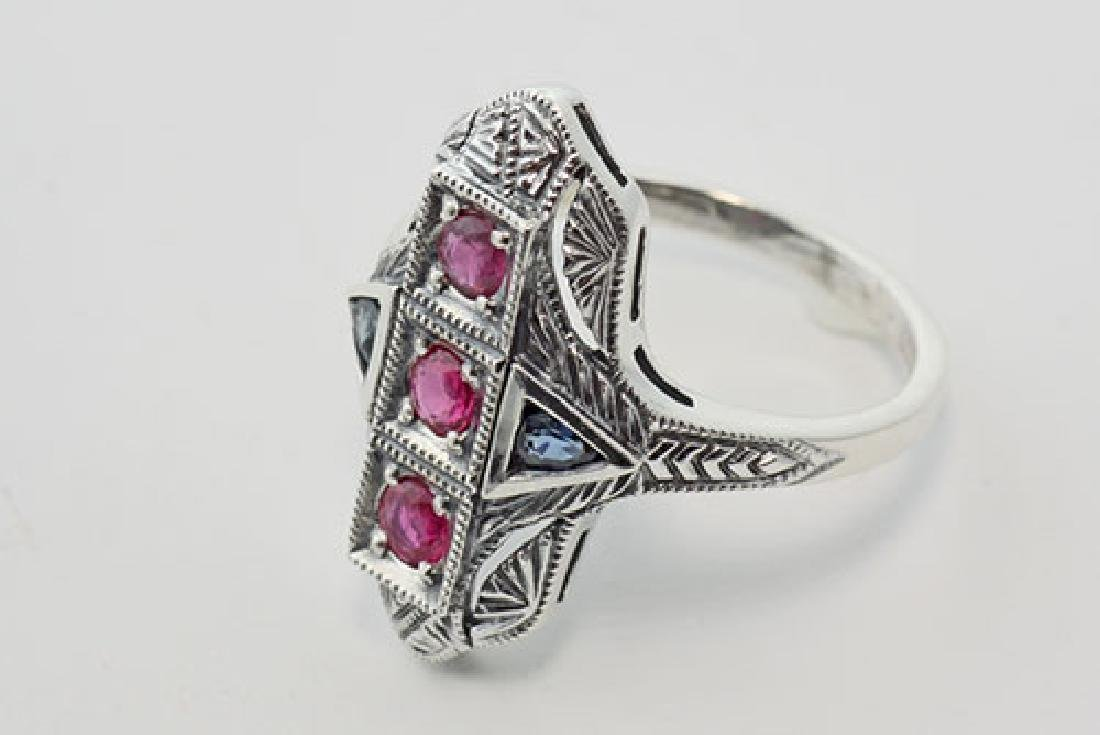 Art Deco Ring Rubies and Sapphires - Sterling Silver - 3