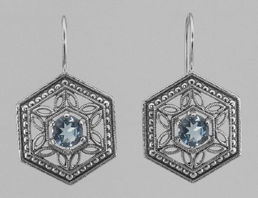 Art Deco Style Blue Topaz Filigree Earrings - Sterling