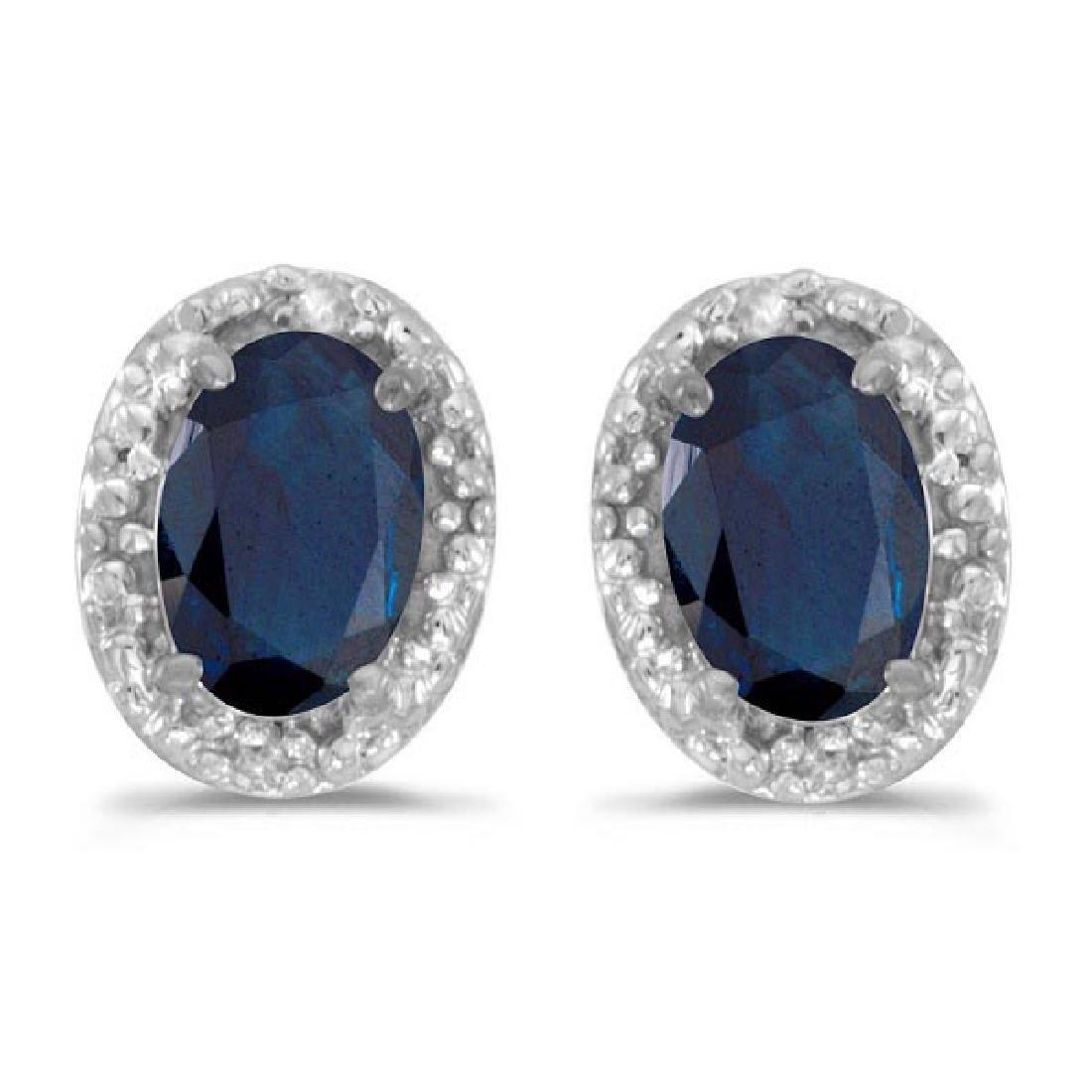 Diamond and Blue Sapphire Earrings 14k White Gold (1.20