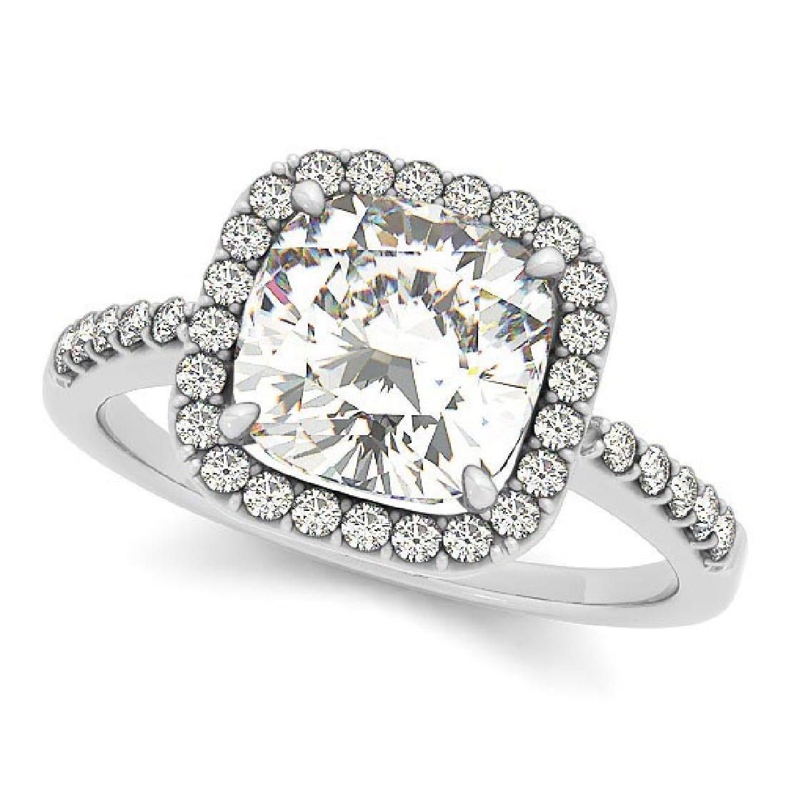 Cushion Cut Diamond Halo Engagement Ring w/ Accents 14k