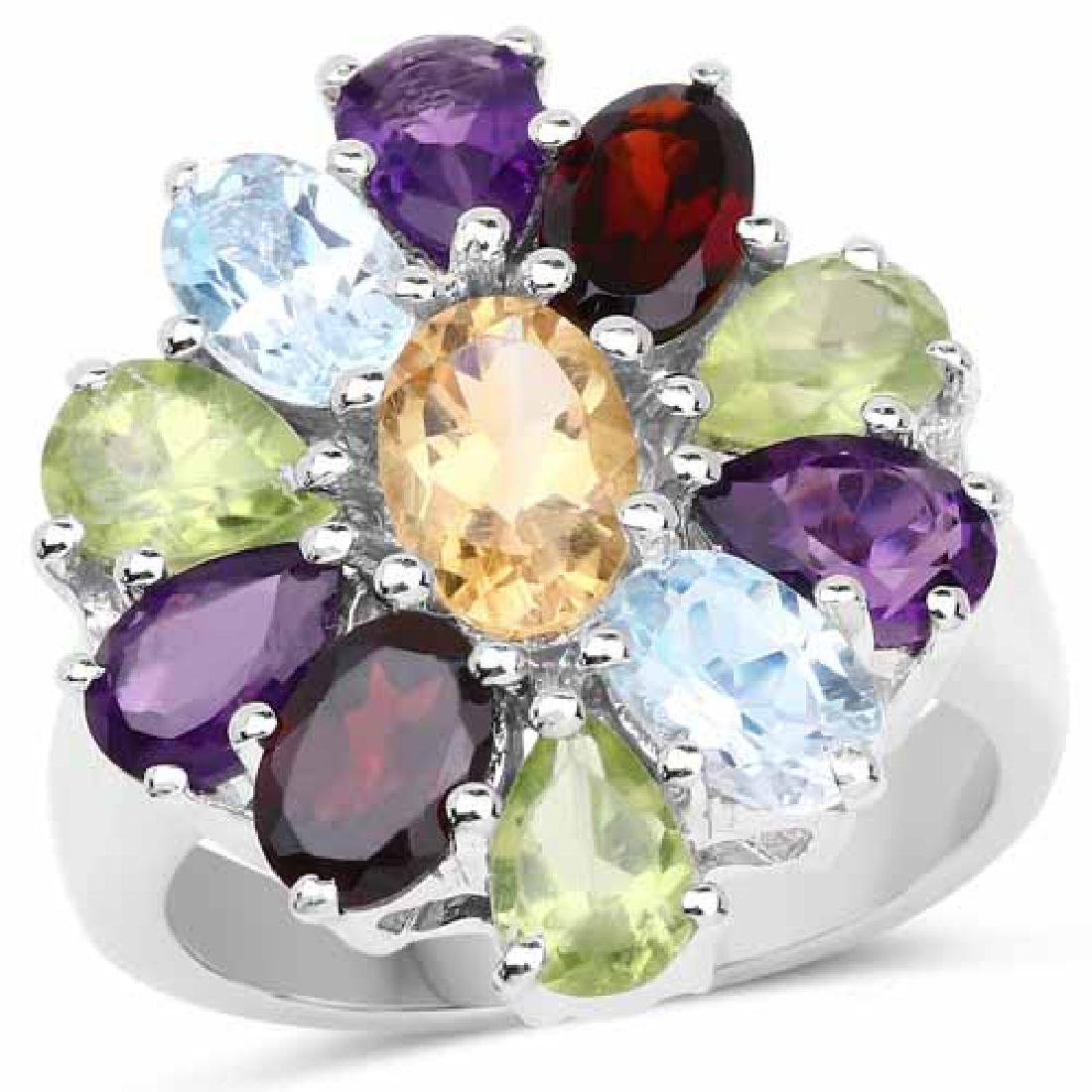 5.15 Carat Genuine Multi Stones .925 Sterling Silver Ri
