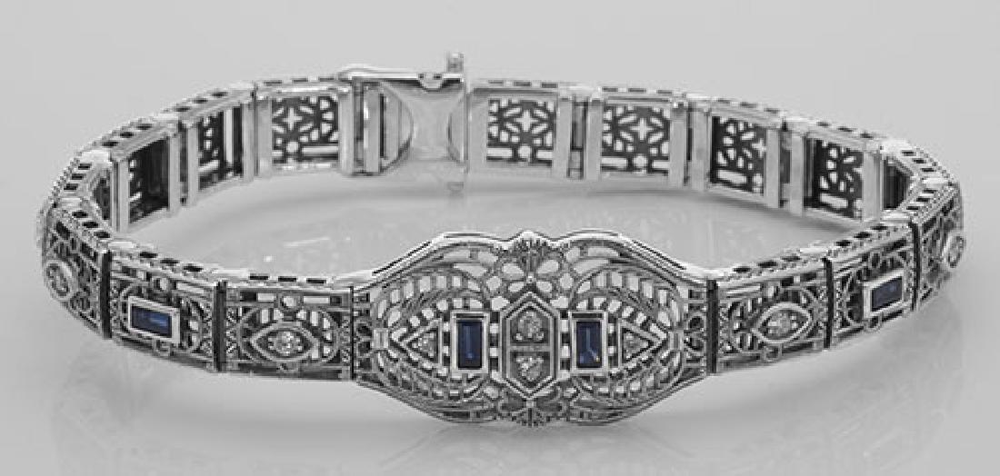 Art Deco Style Blue Sapphire & CZ Filigree Bracelet in