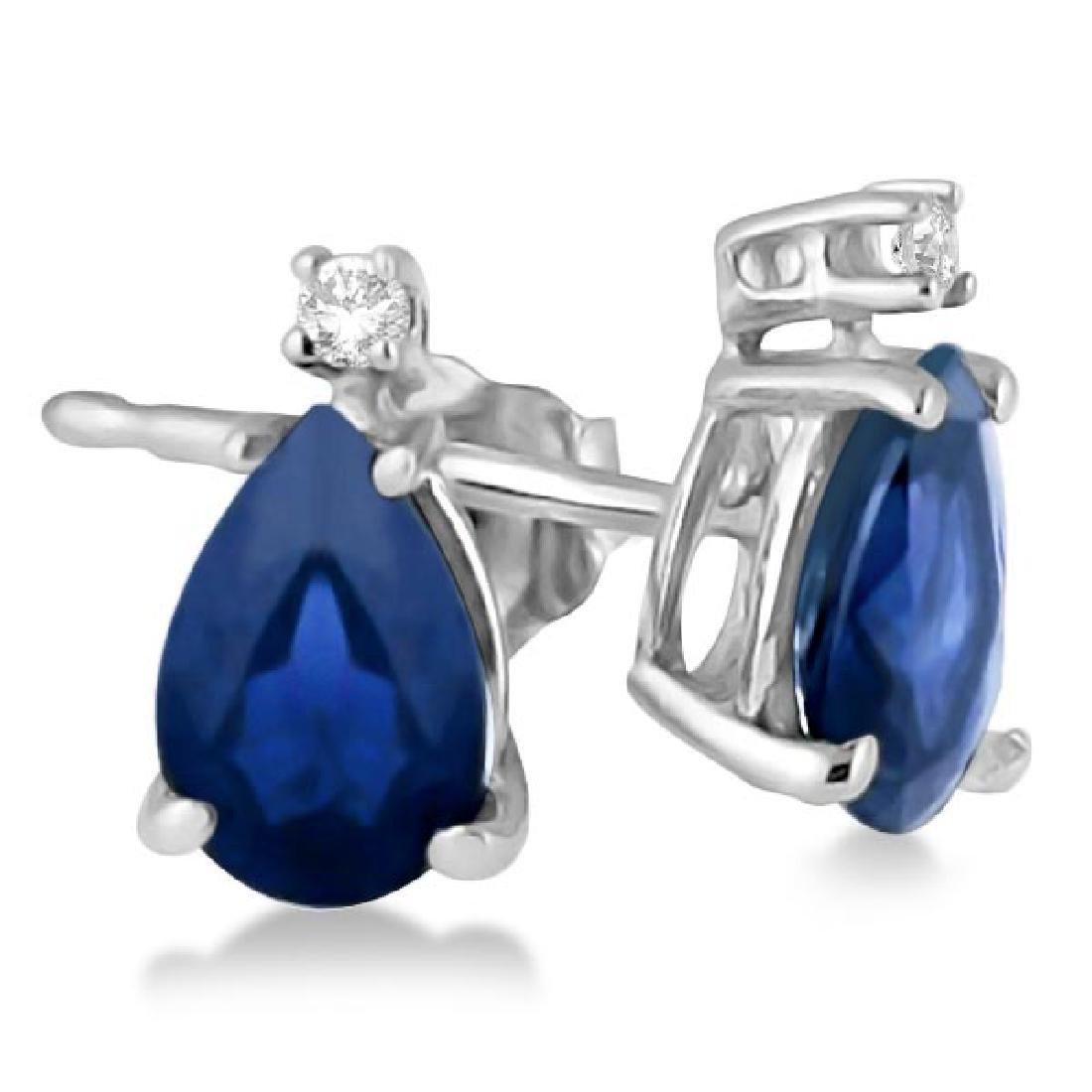 Diamond and Pear Sapphire Teardrop Earrings Studs 14K W