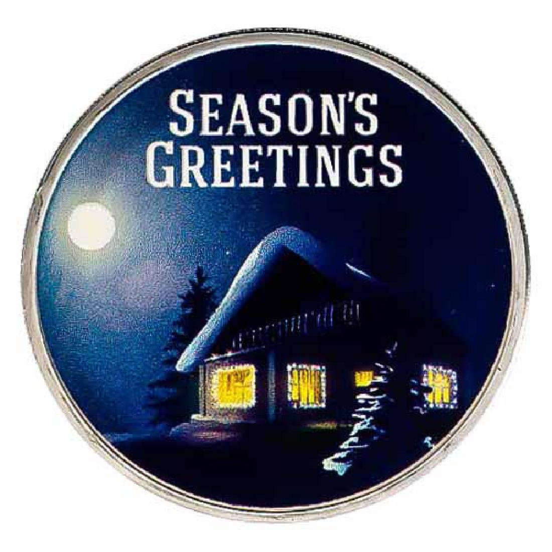 Colorized Christmas 2017 Silver Round Seasons Greetings