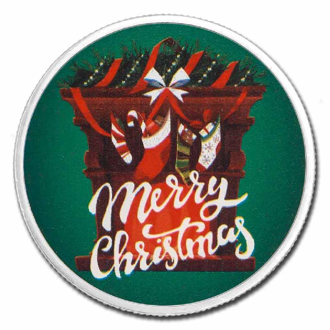 Colorized Christmas 2017 Silver Round Merry Christmas F