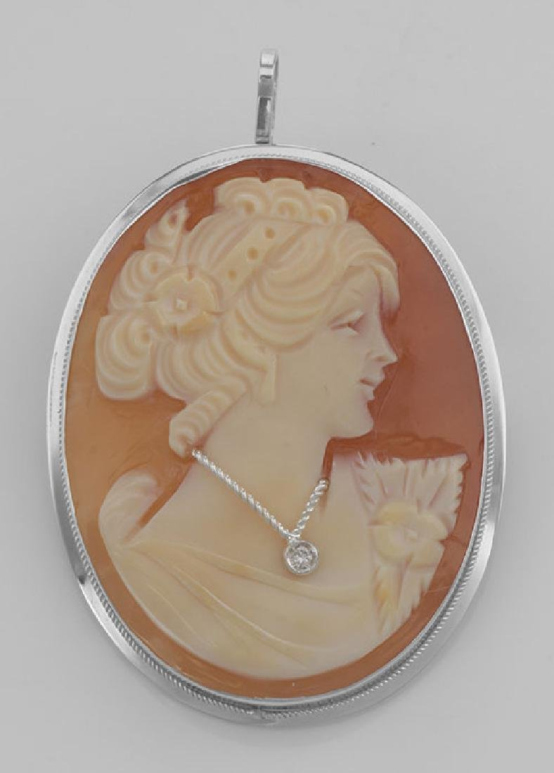 Hand Carved Cameo Pin / Pendant with Diamond Necklace -