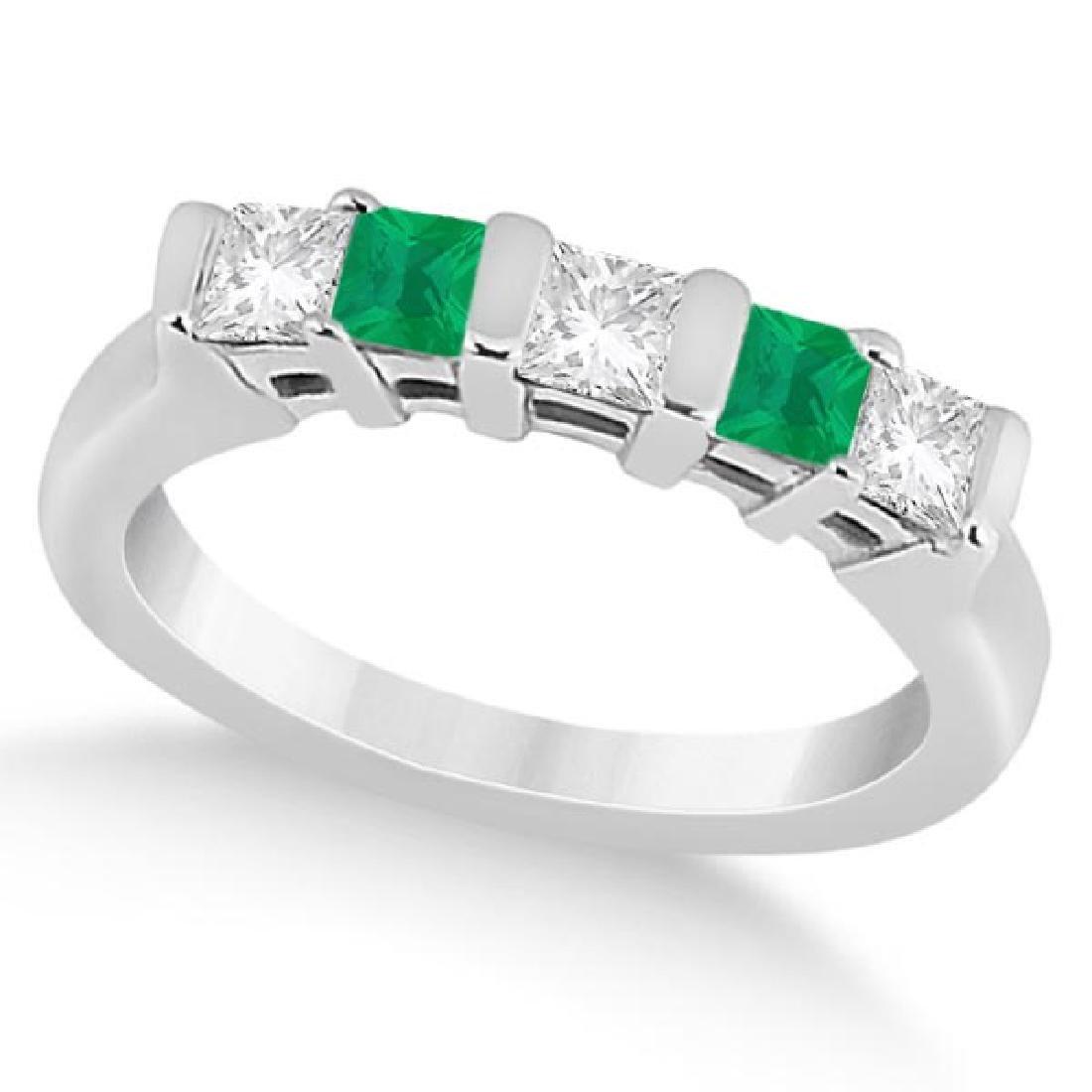 5 Stone Diamond and Green Emerald Princess Ring 14K Whi