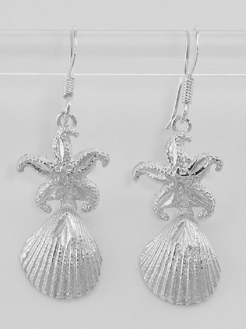Sparkling Starfish and Shell Earrings - Sterling Silver