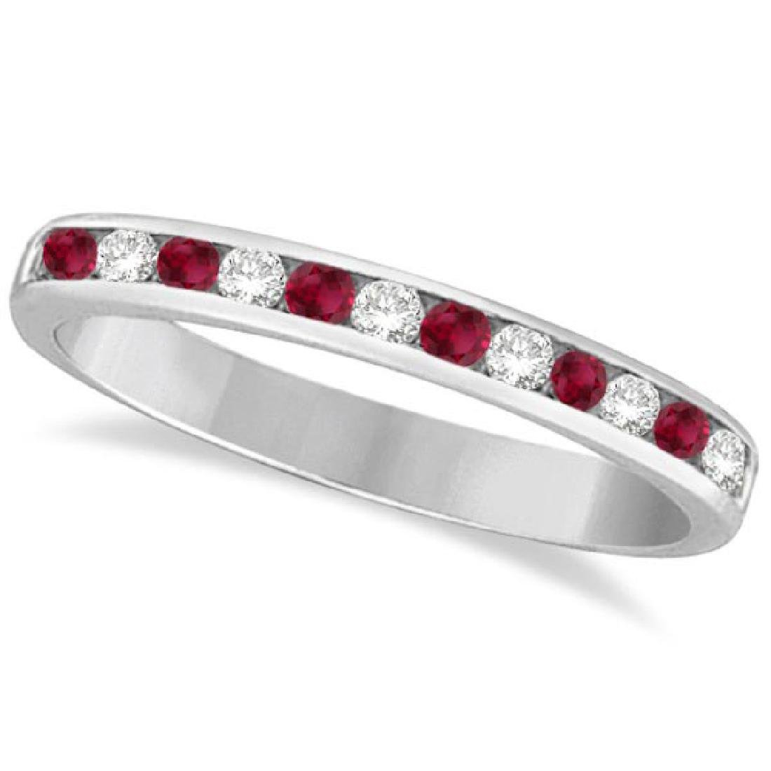 Ruby and Diamond Semi-Eternity Channel Ring 14k White G