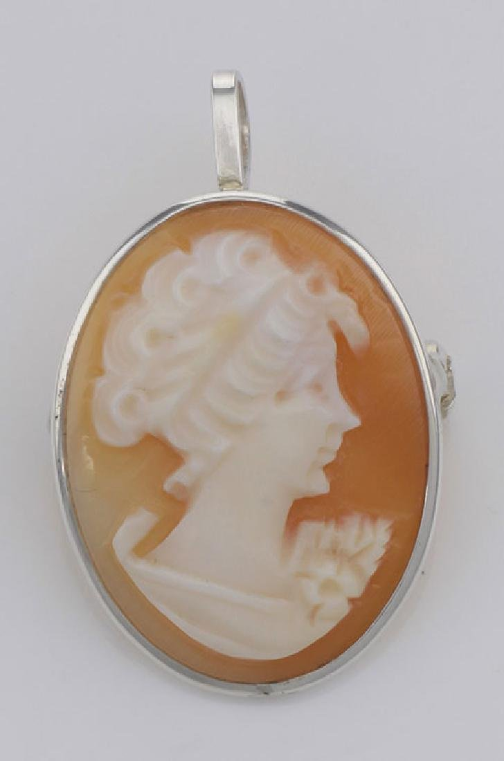 Italian Hand Carved Cameo Pin / Pendant in Fine Sterlin