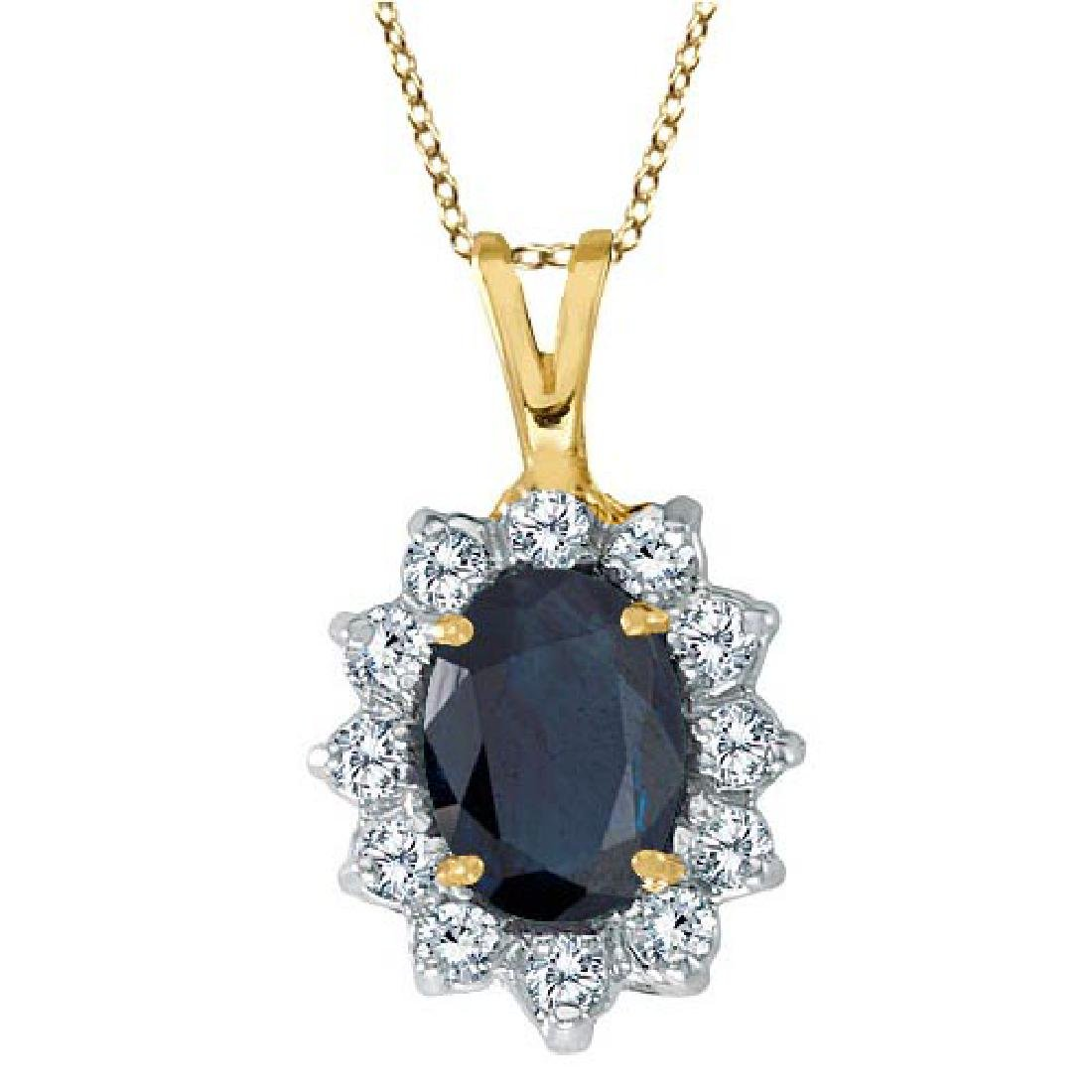 Blue Sapphire and Diamond Accented Pendant 14k Yellow G