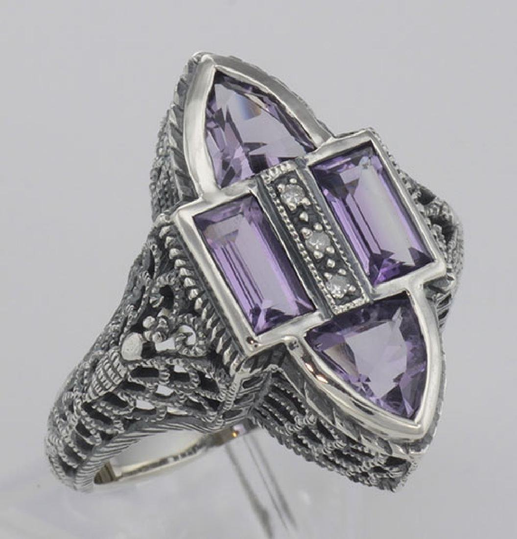 Antique Style Four Stone Amethyst and Diamond Ring - St
