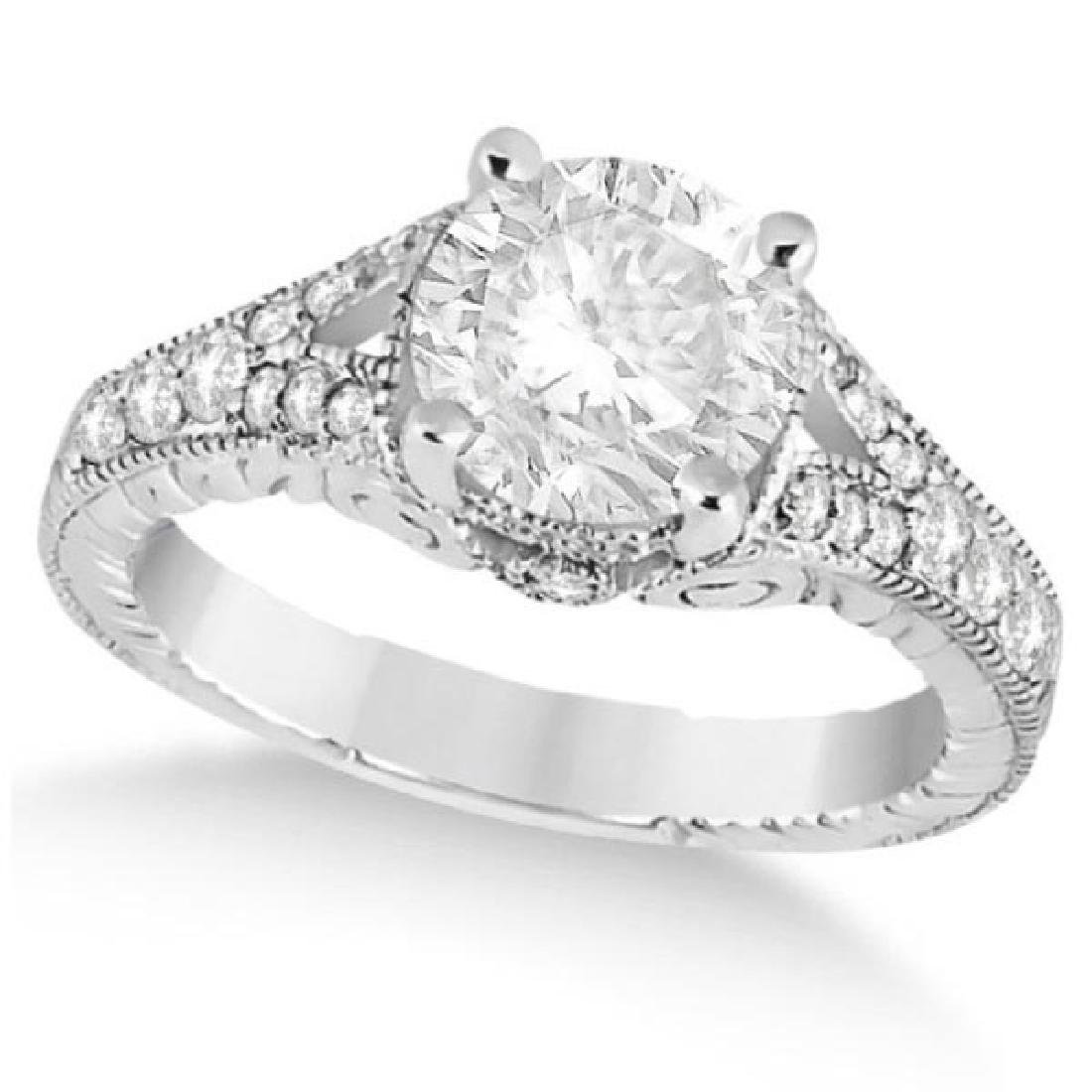 Antique Art Deco Round Diamond Engagement Ring 14k Whit