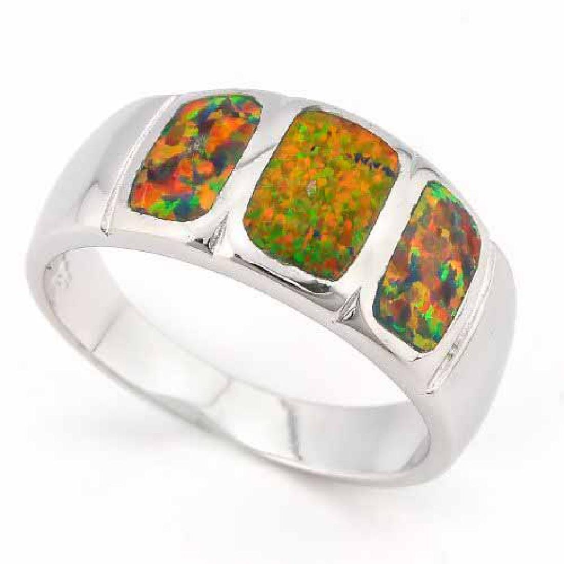 1 1/5 CARAT CREATED FIRE OPAL 925 STERLING SILVER RING