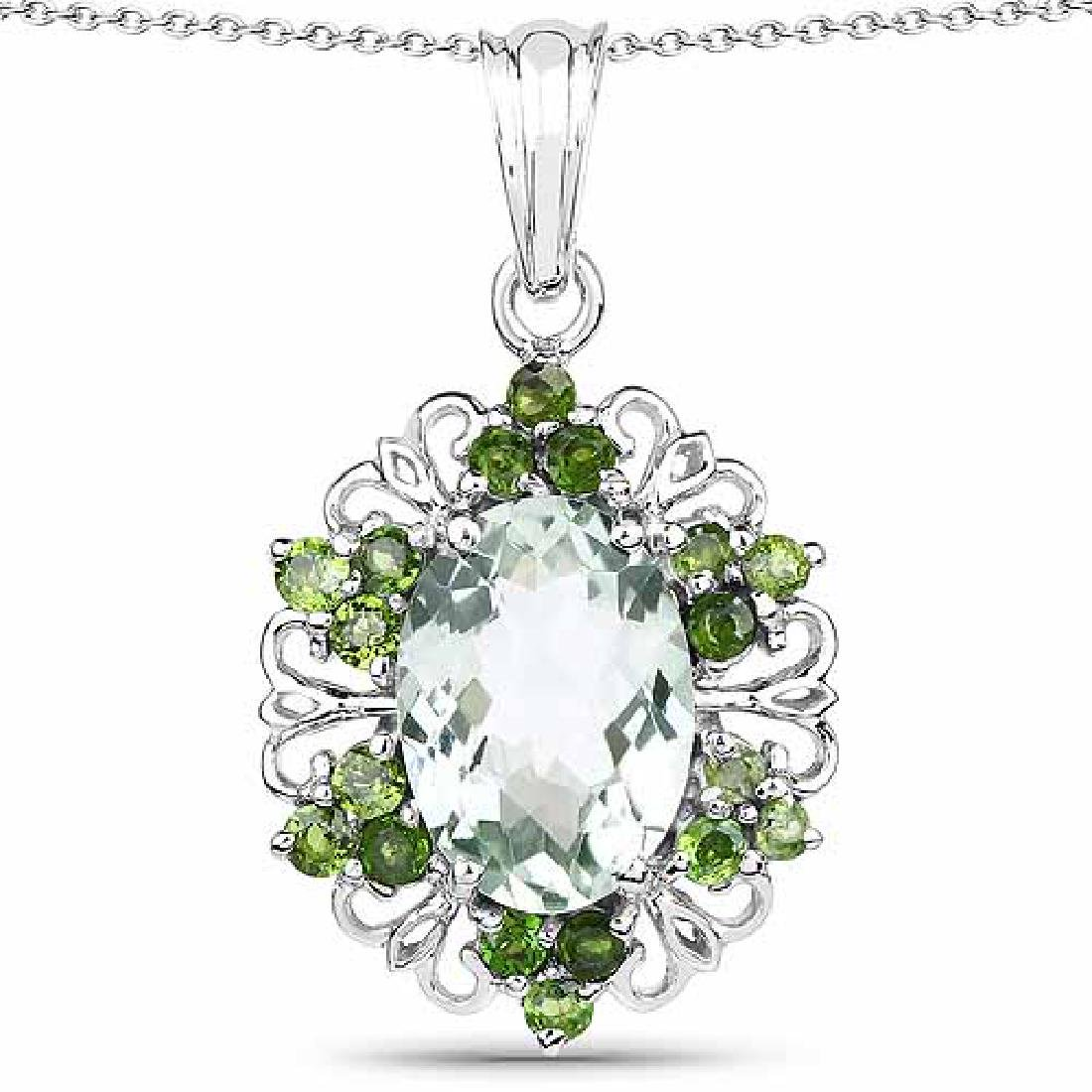 6.47 Carat Genuine Green Amethyst and Chrome Diopside .