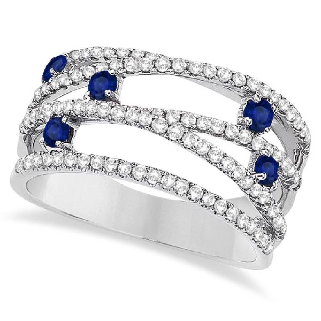 Blue Sapphire and Diamond Bypass Wide Ring 14k White Go
