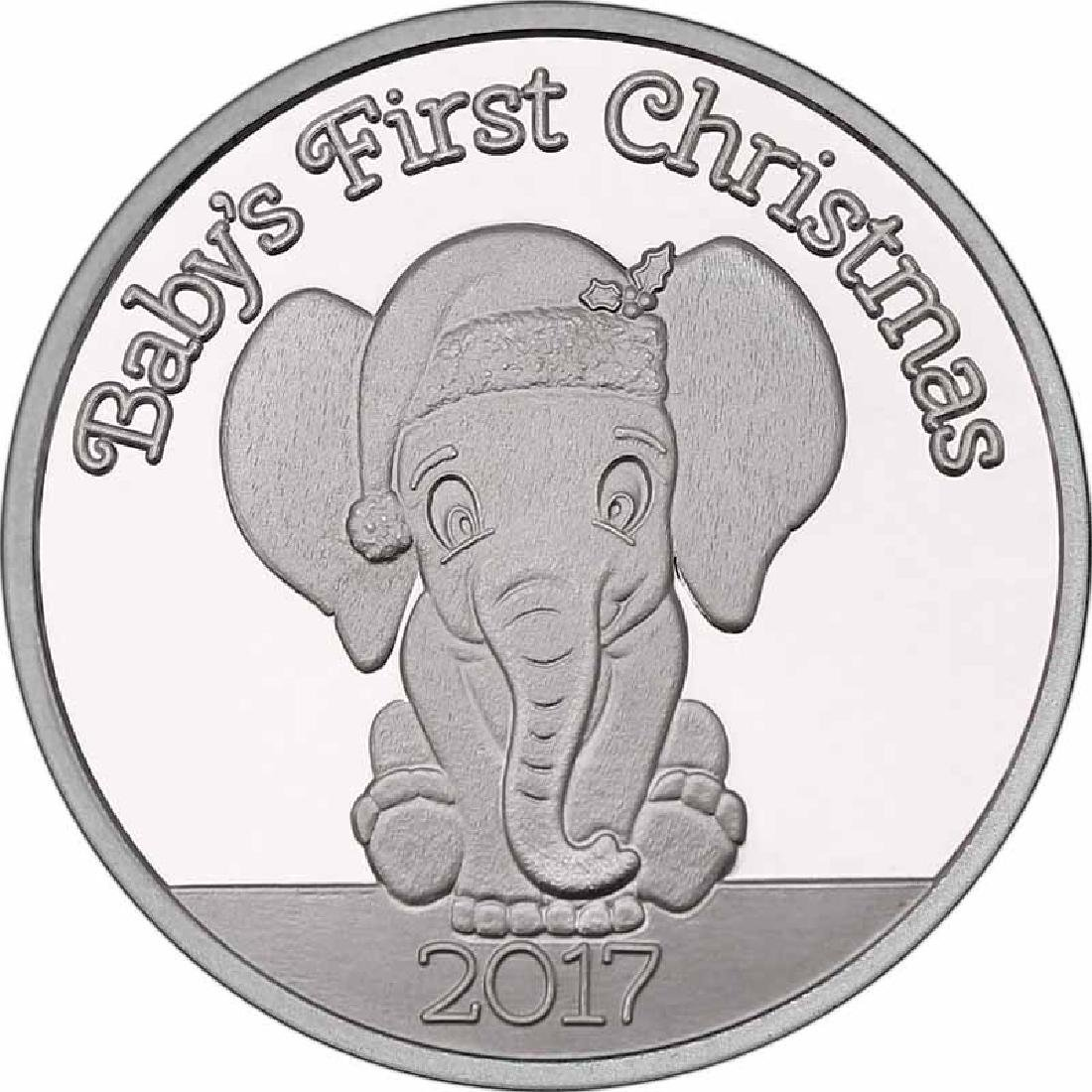 Christmas 2017 Silver Round X-14 Babys First Christmas