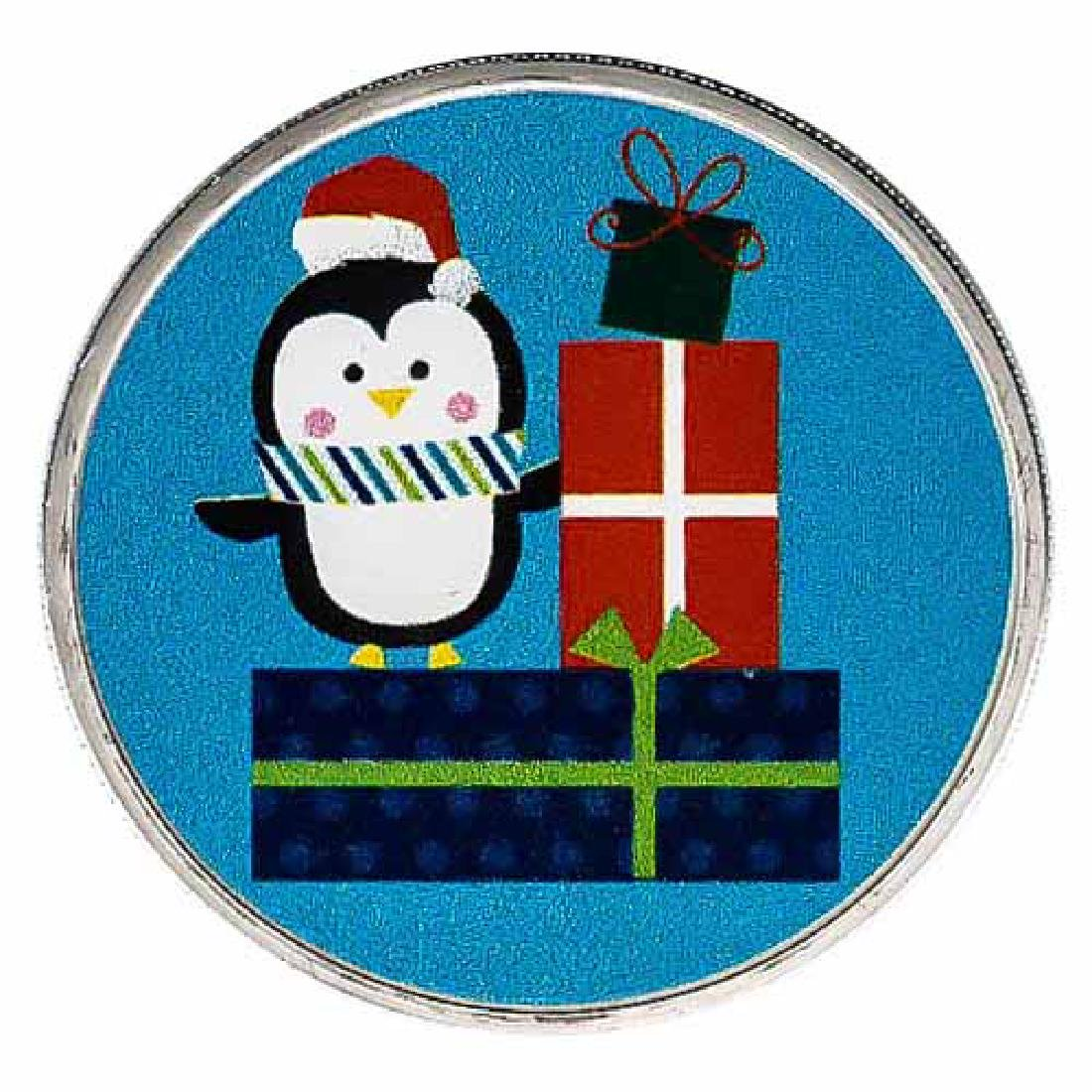 Colorized Christmas 2017 Silver Round Penguin With Pres