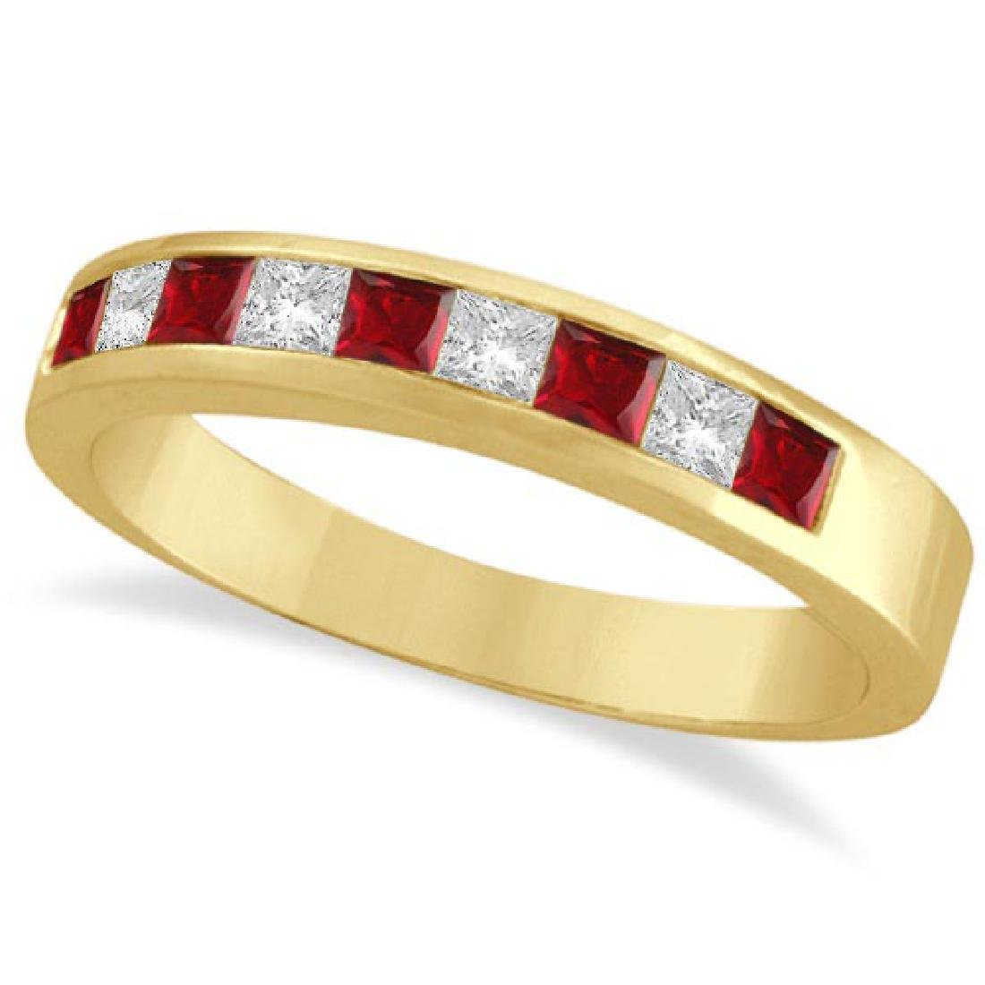 Princess-Cut Channel-Set Diamond and Ruby Ring Band 14k
