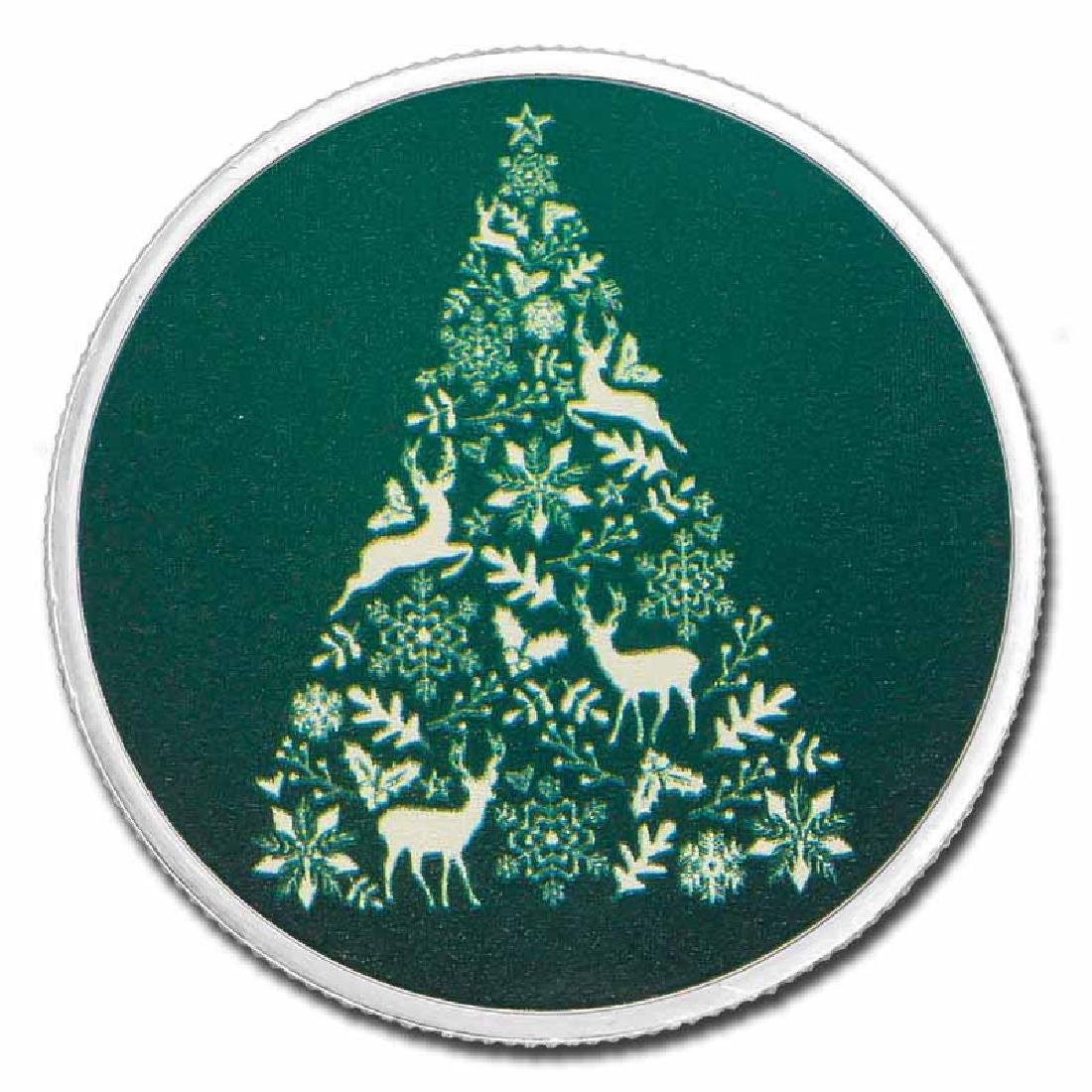Colorized Christmas 2017 Silver Round Green Christmas T