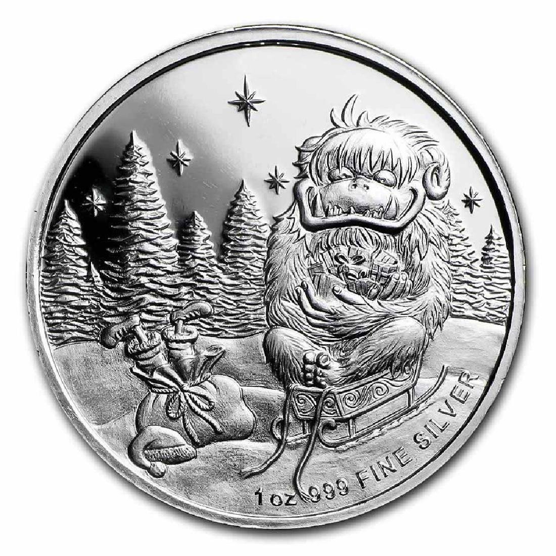 Christmas Silver Round Merry Christmas Abominable Snowm