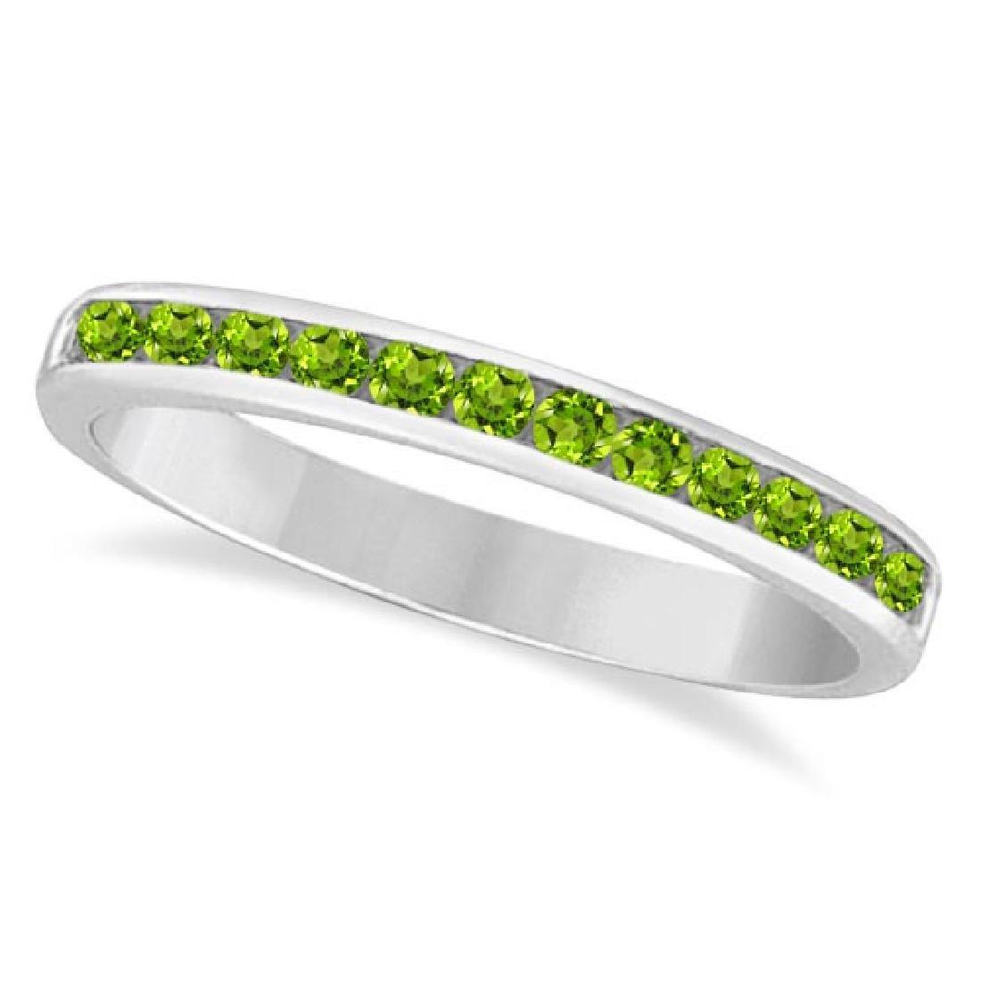 Peridot Channel-Set Semi-Eternity Ring Band 14k White G
