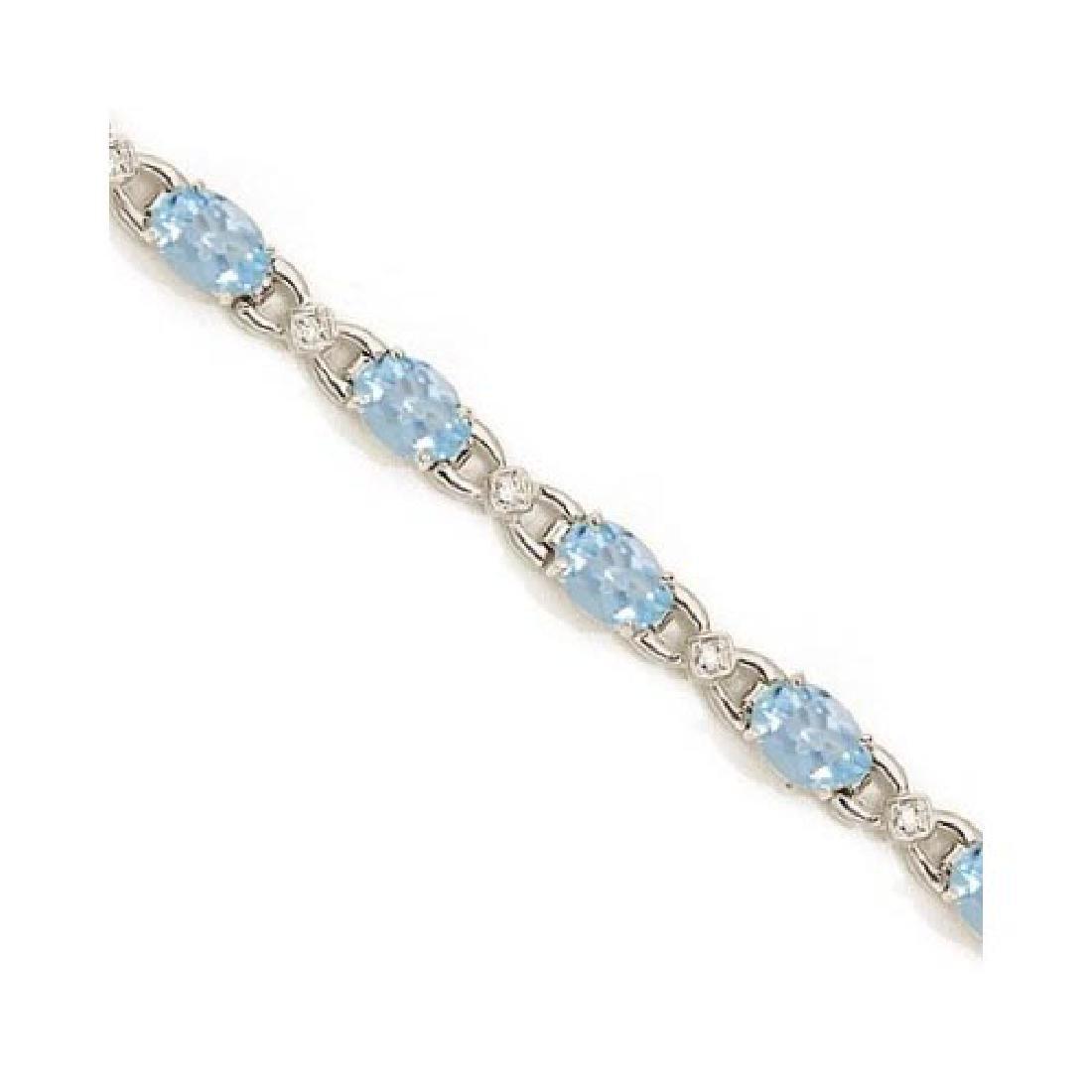 Diamond and Aquamarine Bracelet 14k White Gold (10.26 c