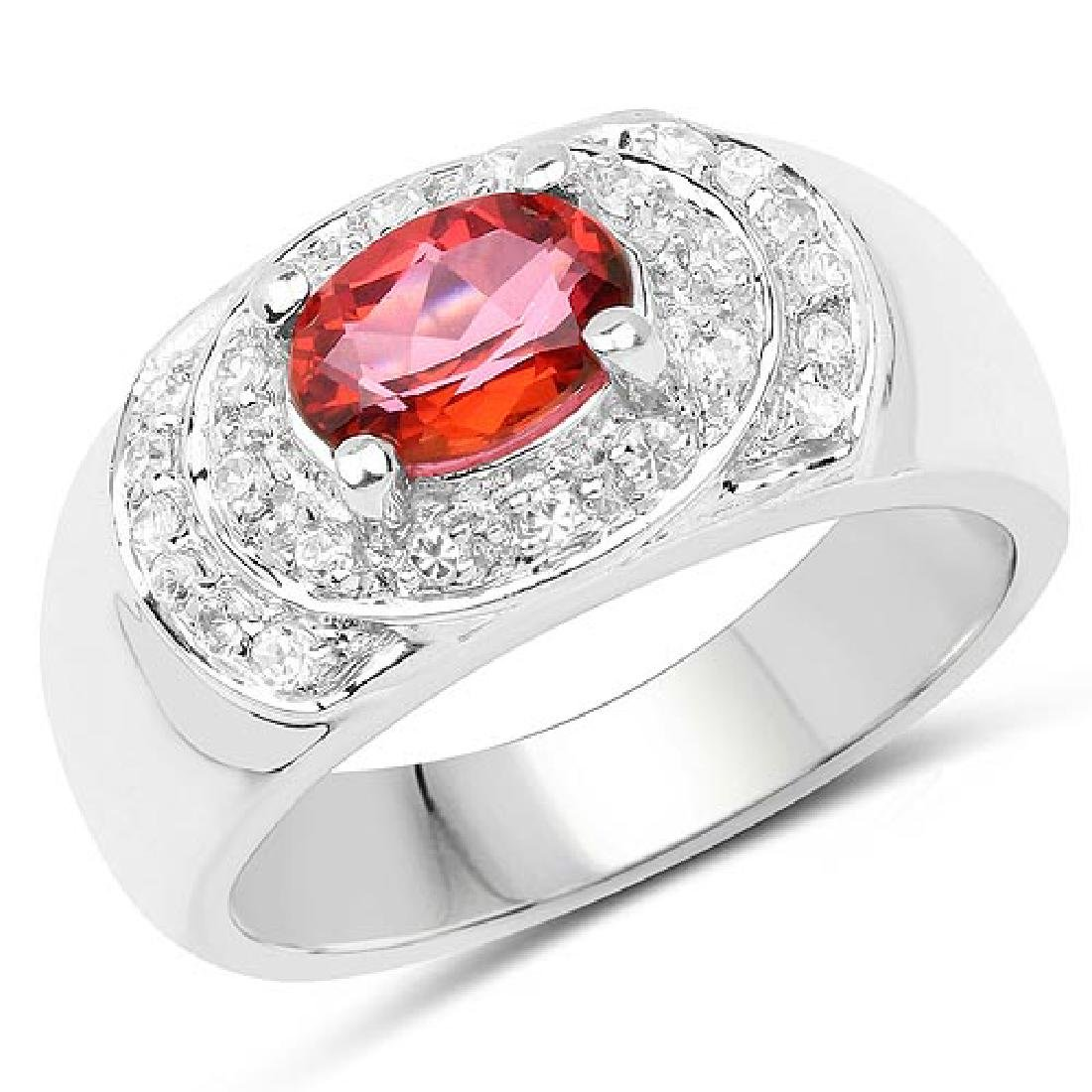 1.37 Carat Genuine Pink Topaz and White Cubic Zirconia